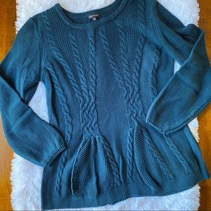 Hannah Cable Knit Peplum Sweater